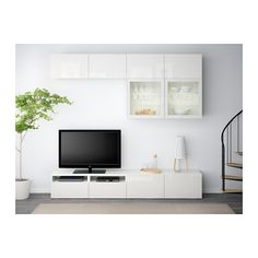BESTÅ TV storage combination/glass doors, white, Selsviken high gloss/white clear glass white/Selsviken high gloss/white clear glass 94 1/2x15 3/4x90 1/2