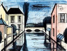 Pont sur la rivière, mixed media on paper, 50 x 65 cm, 1984. Musée Bernard Buffet.