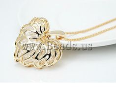heart necklace #Valentineday http://www.beads.us/es/producto/Zinc-Alloy-Sweater-Chain-Necklace_p50250.html