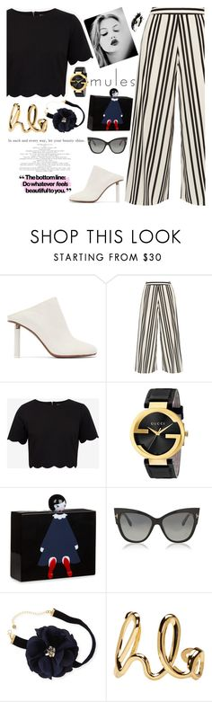 """""""Mules"""" by bartivana ❤ liked on Polyvore featuring Vetements, Alice + Olivia, Ted Baker, Gucci, GE, Lulu Guinness, Tom Ford, Lydell NYC and Chloé"""