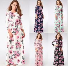 Women Long Sleeves Printing Dress Seaside Vacation Beach Long Skirt