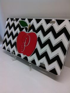 Beautiful #chevron and #monogrammed #teacher mirror license plate with an #apple we shipped off to a web customer. We offer a wide variety of original yet #custom car tags on our mobile friendly site