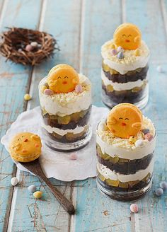 Easter Trifles (with Chick Macarons) by raspberri cupcakes, via Flickr