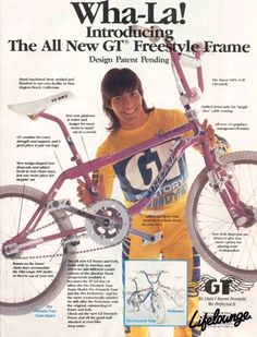"The ""new"" '87 GT Performer freestyle bike with the s downtube / GT advertisement - Eddie Fiola #performancebikebicycles"