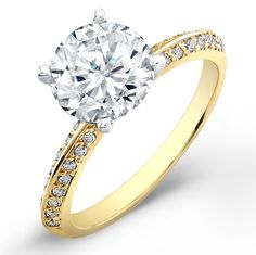 1 Carat round cut diamond engagement ring SI F