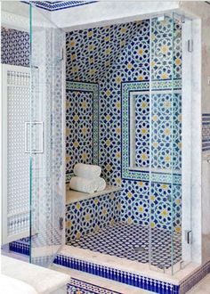 Blue Moroccan Mosaic Tile Bathroom Shower