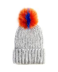 D0R5S Eugenia Kim Rain Knit Hat with Fur Pompom, Gray/Orange/Blue