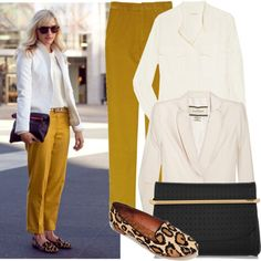 White blazer w/ the marigold APC pants, marni perforated clutch and a leopard loafer