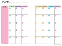 Free Blank Mini Binder Calendar Printables