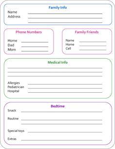 Printable Babysitter Note Sheet | For my Payton | Pinterest ...
