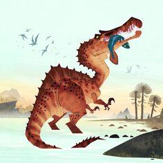Referanse for spinosaurus Dinosaur Drawing, Dinosaur Art, Spinosaurus, Creature Concept Art, Creature Design, Animal Sketches, Animal Drawings, Dinosaur Illustration, Extinct Animals