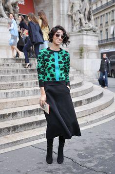Yasmin Sewell in Midi Skirt, Paris - Trendycrew