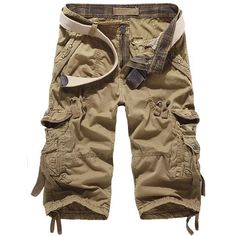 Hot Fashion Summer Calf-length Men Shorts Cotton Casual Mens Cargo Shorts  Military Shorts e7b565e291f