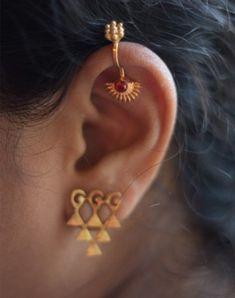 Gold plated sunflower bugadi - clip on in 2020 Gold Star Earrings, Emerald Earrings, Bar Earrings, Simple Earrings, Crystal Earrings, Antique Earrings, Gold Necklace, Piercings, Star Jewelry