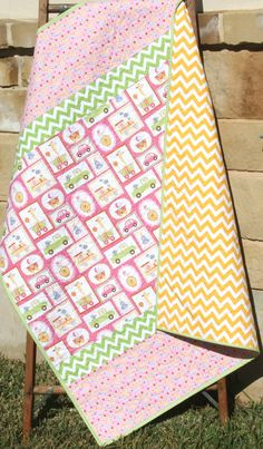 Baby Quilt, Girl, Giraffe Train Money Cars, Pink Yellow Green, Infant, Crib Bedding, Nursery Decor, Baby Blanket, Dena Designs Happi by SunnysideDesigns2