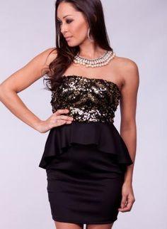 Black Strapless Peplum Dress with Gold Sequin Top,  Dress, peplum dress  strapless  sequin, Chic
