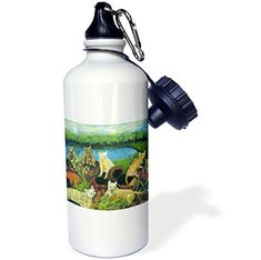 3dRose wb_66320_1 The Gardeners Kittens Dig Up Colorful Flower Pots Water View Sports Water Bottle 21 oz White ** Want to know more, click on the image.