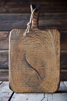 vintage style bread board made of old oak wood