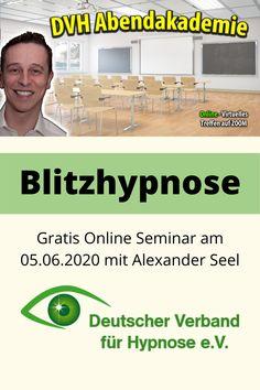 Blitzhypnose - DVH online Abendakademie: gratis Blitzhypnose Event mit Hypnotiseur Alexander Seel. An diesem Abend erfahren Sie, was sich hinter Blitzhypnose verbirgt und erhalten Tipps und Tricks an die Hand, wie sich diese Form der Hypnose in der Praxis nutzen lässt. Ein Abend, den Sie keinesfalls verpassen sollten, wenn Sie sich für das Thema Blitzhypnose interessieren. #blitzhypnose #alexanderseel #hypnose #schnellhypnose #straßenhypnose #showhypnose #hypnoseshow #hypnosetherapie #dvh Blitz, Form, Interview, Further Education, Not Interested, Tips And Tricks
