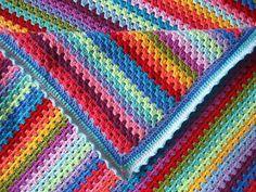 Exquisite Granny Stripe Crochet Blanket | AllFreeCrochetAfghanPatterns.com