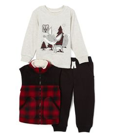 Look at this #zulilyfind! Kids Headquarters Red & Black Buffalo Check Vest Set - Infant, Toddler & Boys by Kids Headquarters #zulilyfinds
