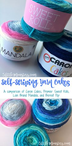 5 Little Monsters: Self Striping Yarn Cakes: A Comparison of Caron Cakes, Premier Sweet Rolls, Lion Brand Mandala, and Bernat Pop Crochet Blanket Patterns, Knitting Patterns, Crochet Blankets, Baby Blankets, Easy Crochet Projects, Yarn Projects, Crochet Crafts, Crochet Ideas, Bernat Pop Yarn