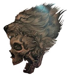 Wolf Skull Tattoo. http://3d-tattoodesign.com/hd-wolf-skull-tattoo/ Más