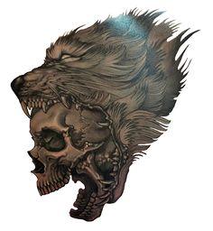 Wolf Skull Tattoo.    http://3d-tattoodesign.com/hd-wolf-skull-tattoo/