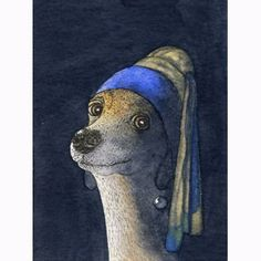 Whippet Greyhound dog 8x10 art print - Girl with a pearl earring. $17.00, via Etsy.