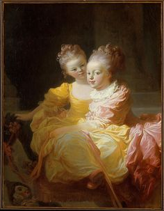 """""""The Two Sisters"""", ca. 1769-70, by Jean Honoré Fragonard (French, 1732-1806). This painting has been cut down to a smaller size. Originally, Fragonard showed the older girl at full-length and the younger one seated on a wheeled wooden horse in an elegant interior."""