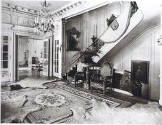 "The Stuyvesant Fish Mansion, late 19th-century - American Gilded Age era, in NYC. Located at: 25 East 78th Street ~ Several ""bear-skin"" rugs displayed in the second floor hallway. ~ {cwl} ~ (original sourced image: The NY Social Diary)."