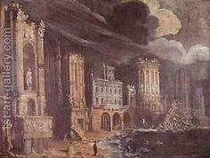 Ruins with the Legend of St Augustine by Francois de Nome (Monsu, Desiderio)