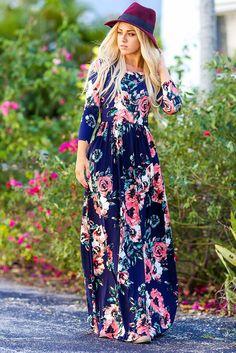 Garden of Beauty Floral Print Maxi Dress (Navy)