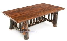 Natural aspens logs and a reclaimed barn wood are handcrafted into a unique rustic log dining table for cabin, lodge or camp home decors. Made in America - USA.