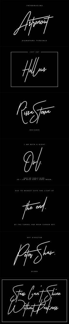 """Astronout Signature Typeface. Give your designs an authentic handcrafted feel. """"Astronout Signature Typeface"""" is perfectly suited to stationery, logos and much more."""