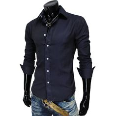 (JCS-NAVY) Mens Casual Pin Stripe Fitted Shirts (US M) $19.95