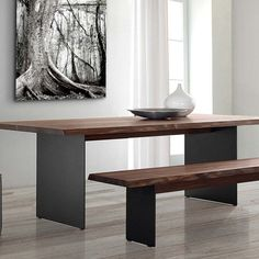 Tavolo legno e acciaio