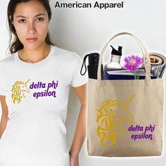 Delta Phi Epsilon Sorority Mascot Printed Tee and Tote Package $31.95