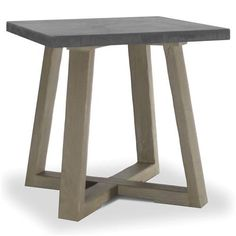 Bekah Industrial Rustic White Oak Cement End Table | Kathy Kuo Home
