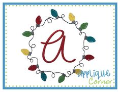 Christmas Lights Circle for Monogram Embroidery Design