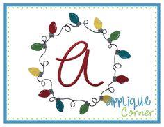 Christmas Lights Circle for Monogram Embroidery Design
