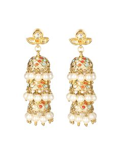 Multicolored Kundan Jhumka Earrings For Women #Ekatrra #Earring #Jhumka #Pearl #Accessories #Jewellary #Stone #Wedding #Indiandesigner #Onlineshopping #Fashionable #Trendy #Love #Gift Shop Now: http://bit.ly/1SrrXgZ