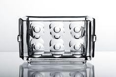 Glass jardiniere vase designed by Adolf Matura - Rudolfova Huť Glassworks, Czechoslovakia Murano Glass, Czech Glass, Pressed Glass, Mid Century Design, Glass Design, Martini, Glass Art, Deco, Bottle
