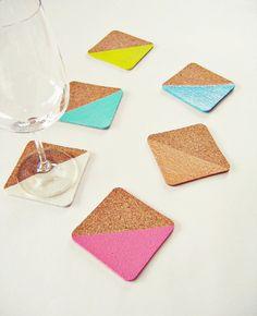 6 sous-verres de Cork dip-dye sous-verres Pastel par Ahoj2012