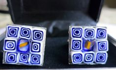 Mens Cuff Links- Handmade- Cufflinks for Men- Made with Italian Glass Millefiori- https://www.etsy.com/listing/153635175/mens-cuff-links-handmade-cufflinks-for?ref=shop_home_active