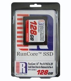 """32GB RunCore Pro IV 1.8"""" PATA ZIF SSD Solid State Drive for Macbook Air Rev. A by RunCore. $80.25. 32GB RunCore 1.8"""" SSD designed for the Apple MacBook Air Rev.A. Solid State Disk with PATA ZIF interface, supporting read speeds up to 90MB/sec and write speeds up to 80MB/sec. TRIM support."""