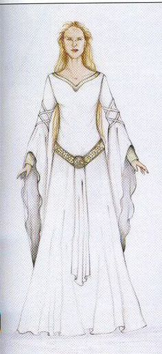 "Concept art for Eowyn's White Wool Gown by Ngila Dickson from ""Lord of the Rings: The Two Towers"" (2002).  The finished gown used for production in the film is a direct nod to the novel- it features a golden girdle bound with a belt of silver medallions."