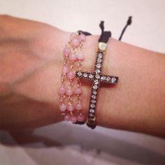Cross bracelet set by AroundMyWrist on Etsy, Antique Jewelry, Beaded Jewelry, Jewelry Necklaces, Beaded Bracelets, Cross Bracelets, Baubles And Beads, Bracelet Set, Jewelery, Bling