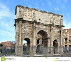 """The Arch of Constantine at the Roman Forum goes across the Villa Triumphalis.  It is inscribed in part, """"To the Emperor Caesar Flavius Constantinus, the greatest, pious, and blessed Augustus.....the Senate and People of Rome have dedicated this arch....."""""""