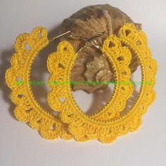 ONE Crochet Earrings Pattern, Earring pattern, - Crochet Beautiful Trendy Round-shaped Earrings - PDF, easy pattern for beginners - Wiezu Crochet Earrings Pattern, Crochet Jewelry Patterns, Crochet Accessories, Crochet Flowers, Crochet Lace, Crochet Snowflakes, Textile Jewelry, Knitting For Beginners, Crochet Gifts